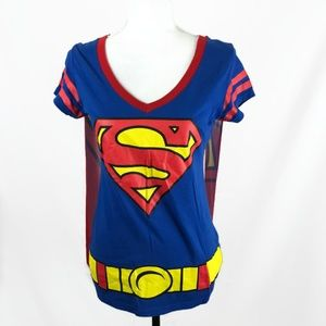 SUPERMAN Womens Shirt with Removable Cape XL